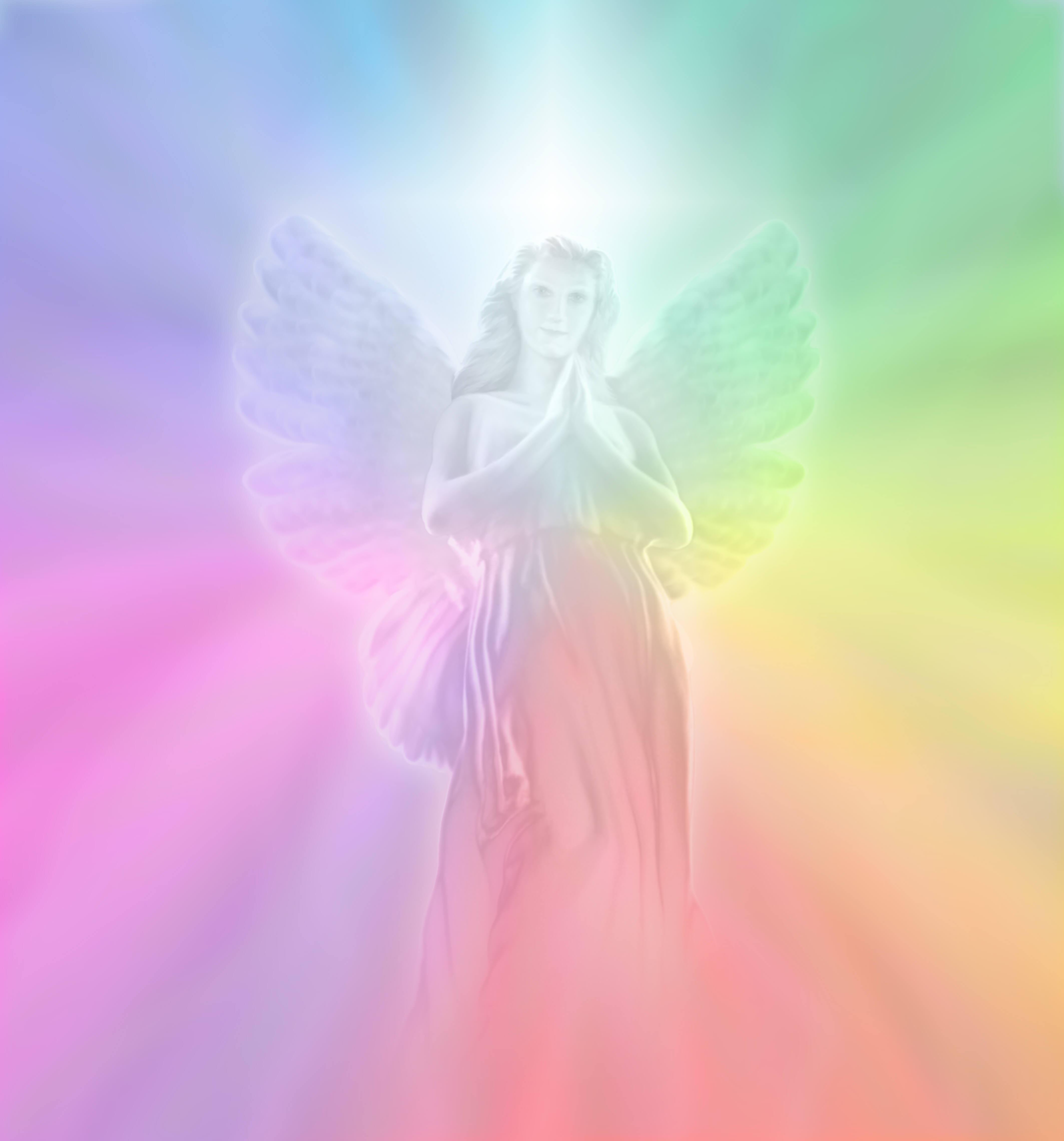 虹背景の天使